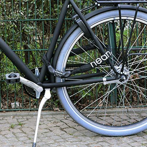 nean Fahrrad-Ketten-Schloss, Zahlen-Code-Kombination-Schloss, Stahlkettenglieder, schwarz, 6 mm x 900 mm - 5