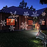Prodeli Christmas Light Snowflakes Projector Waterproof White Lamp Sparkling Landscape for Outdoor Decor Stage Irradiation Holiday Home Decoration Wall Motion Decoration lighting