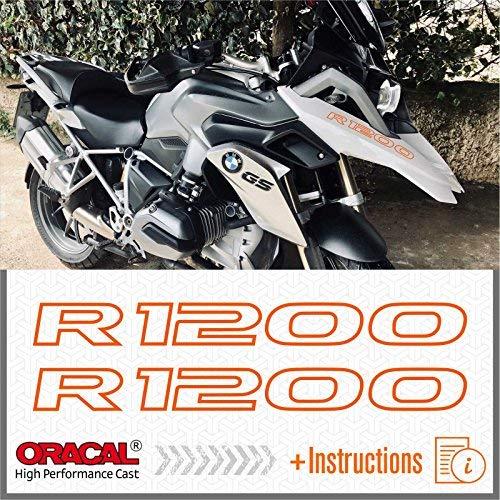 2pcs Adesivi R1200 compatibile con moto Motorrad LC R 1200 GS r1200gs (Orange)
