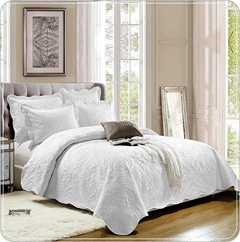 Weiß Tagesdecke 3Stück bestickte Bettwäsche Überwurf Schlafzimmer Tröster Set mit 2Kissen Double King Super King, Baumwollmischung, weiß, King (230 x 250 CM)