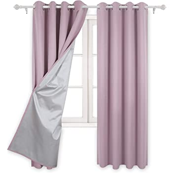 Deconovo Eyelet Curtains Ready Made Room Darkening Thermal Insulated Ring Top Blackout For Kids