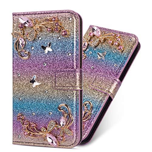 Miagon Hülle Glitzer für Samsung Galaxy A20e,Luxus Diamant Strass Blume PU Leder Handyhülle Ständer Funktion Schutzhülle Brieftasche Cover,Regenbogen Blau