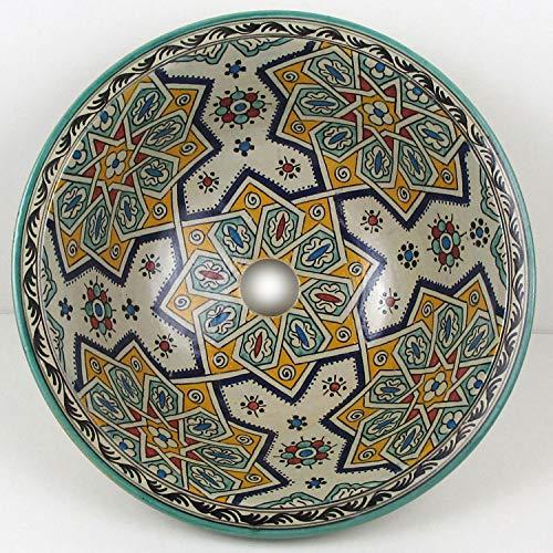 Casa Moro Mediterranes Keramik-Waschbecken Fes16 rund Ø 40 cm bunt H 18 cm handbemalt | Marokkanisches Handwaschbecken für Bad Gäste-WC | Einfach schöner Wohnen | WB016