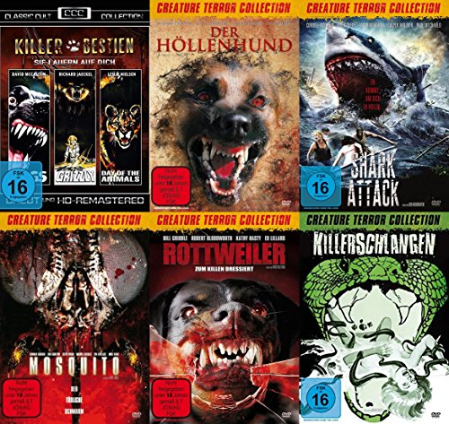 8 Tierhorror Kultfilme Collection PANIK IN DER SIERRA NOVA - DAY OF THE ANIMALS + GRIZZLY + DOGS + DER HÖLLENHUND + SHARK ATTACK + MOSQUITO + ROTTWEILER + KILLERSCHLANGEN DVD Edition (Dog Days-dvd)