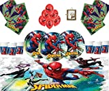 Marvel Spiderman Party Supplies Compleanno per bambini Stoviglie Spiderman Decorazioni per 16- Spiderman Piatti Palloncini in lattice Cornice per foto gratis e palloncino