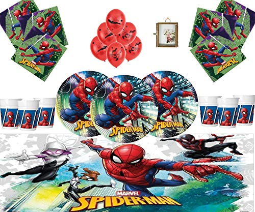 Marvel Spiderman Articles De Fête Vaisselle d'anniversaire pour Enfants Décorations Spiderman pour 16- Assiettes Spiderman Ballons en Latex Cadre ET Ballon DE Photo GRATUITS
