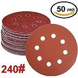 WINGONEER 50PCS Sanding Discs Pads, 5-Inch 8-Hole 240-Grit Gancho y lazo de aluminio de óxido de papel de lija para la orbital orbital Sander