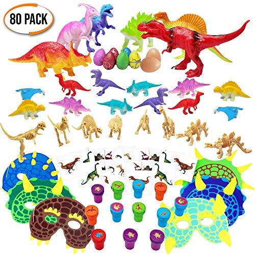 80er Pack Dinosaurier Spielzeug Sortiment - Große Auswahl - Ideal für Geburtstag Party Geschenke Mitgebsel - Piñata - Dinosaurier Themenparties - Kindergeburtstag gastgeschenke, Kinder kleine. (Tattoo-tisch-set)