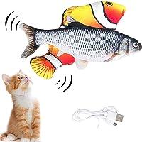 Trendyest Elektrisch Spielzeug Fisch, 2 Stück Flopping Fisch Katzenspielzeug, Katze Interaktive Spielzeug mit USB…