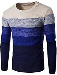 Dihope Homme Pulls Col Rond Imprimé Pullover en Tricot Chaud Slim Fit Top Manches  Longues Sweater b3a58abd2780