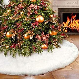 Falda de árbol de Navidad, AMAUK 35.4inches Adornos de falda de árbol de piel sintética blanca, Diseño de doble capa para fiestas de Año Nuevo y Feliz Navidad Decoraciones para el hogar