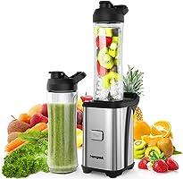 Homgeek Mini Blender 350W, Blender smoothie et Milk-shake avec 2 Bouteilles Portables de 600ml, 2 Couvercles sans BPA et...