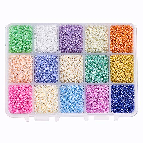 PH PandaHall Über 19500pcs 15 Farbe 12/0 Glas Rocailles 2mm Mini Perlen mit Container Box für Schmuck Machen