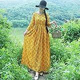 Cxlyq Kleider Frühe Herbst Baumwolle Und Leinen Kleid Langen Rock Lose Taille Sieben-Punkt-Ärmel Große Größe Kleid Weiblich