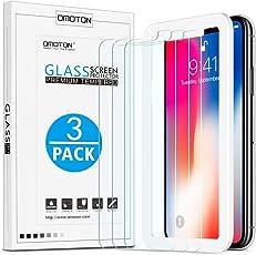 [3 Stück] OMOTON Panzerglas Schutzfolie für iPhone X/Xs, Anti- Kratzer, Bläschenfrei ,9H Härte, HD-Klar, [2.5D Runde Kante],mit Schablone, [5.8 zoll]
