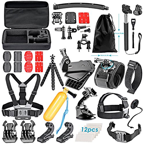 Neewer 50-In-1 Action Camera Accessory Kit for GoPro Hero 4/5 Session, Hero 1/2/3/3+/4/5, SJ4000/5000, Xiaomi Yi, Nikon and Sony Sports DV in Swimming Rowing Climbing Bike Riding Camping and More