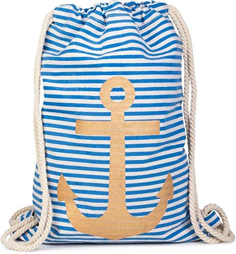 styleBREAKER zaino sportivo dal design marinaresco a righe con stampa di ancora, borsa da sport, unisex 02012052, colore:Petrolio-Bianco / Rosso Blu-Bianco / Oro
