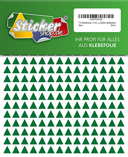 714 Aufkleber, Dreieck, Sticker, 10 mm, grün, PVC, Folie, Vinyl, glänzend, Klebemarkierung, selbstklebend