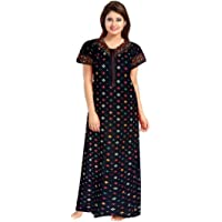 NEGLIGEE Women's Cotton Printed Maxi Night Gown Nighty (GWBLK005_Black_Free Size)