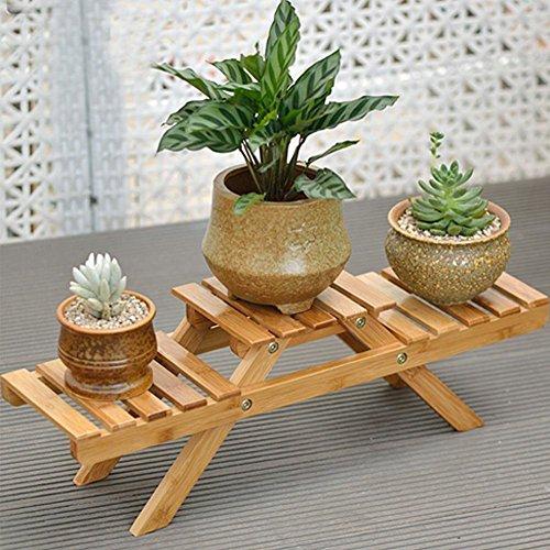 3étages étagère de fleur de sol en bois massif pliable support à fleurs balcon Salon Bureau Pot de fleurs artificielles Display Rack