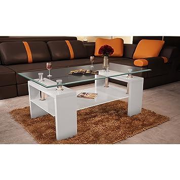 VidaXL Couchtisch Glastisch Beistelltisch Tisch Weiss