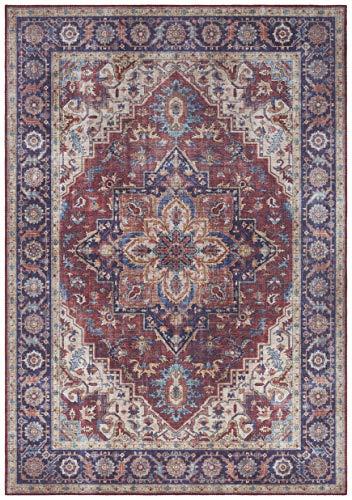 Nouristan Orientalischer Vintage Teppich Anthea Pflaumenrot, 120x160 cm