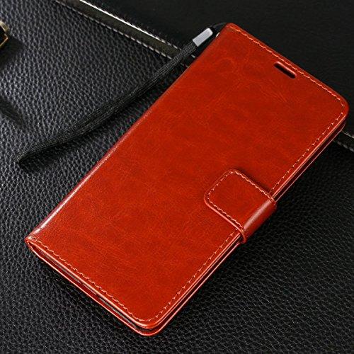 Gionee M6 Plus Hülle,CHENXI Pu Leder Wallet Case Flip Cover Hüllen mit 3 Kartenfächern Magnetverschluss mit Standfunktion Handy Tasche für Gionee M6 Plus Braun