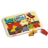 Janod - Chunky Puzzle à Encastrement en Bois Premier Âge Animo - 7 pièces -Jouet d'éveil - dès 18 Mois, J07024