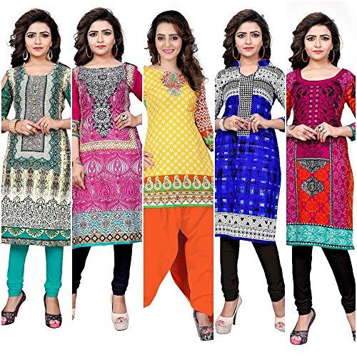 BanoRani Women's Cotton Printed Free Size Unstitched Regular Wear Kurti Material (Combo...