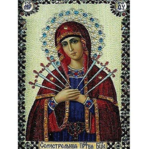Binggong 5D Stickerei Gemälde Strass eingefügt DIY Diamant Malerei Kreuzstich Gott Jungfrau Maria Jesus Fresko Religiöse Malerei (20cm*25cm, H)