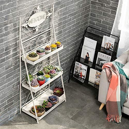 TENCMG Ladder Flower Racks - 3 Floors Eisenmetall-Blumenregale stehendes Regal - Gartenablage-Regal...