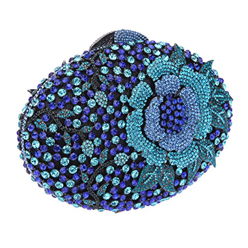 Bonjanvye Glitter Flower Clutch Purses Rhinestones and Handbags for Girls Red Lake blue