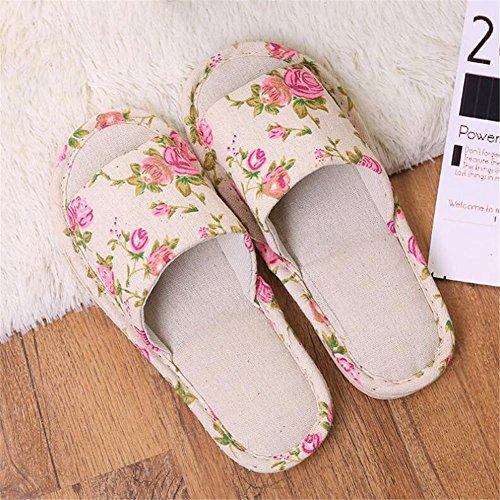 pantofole Pantofole di lino pavimentazione interna del pavimento del pannello esterno morbido quattro stagioni uomini e donne coppia estate pastorale vento domestico pantofole 2 doppie cats