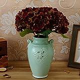GSYLOL 1 Stück Europäischen Amerikanischen Stil Vintage Herbst Künstliche Blume Hortensien Diy Silk Blume Für Party Home Restaurant Dekoration, Kastanienbraun
