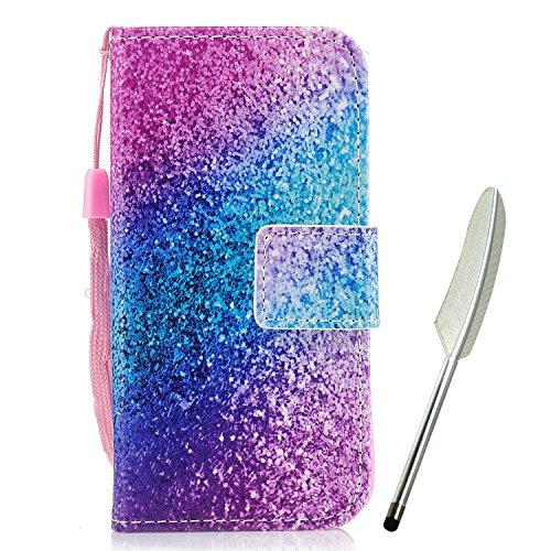 Huawei P10 Hülle, Edaroo Schön Pink Blau Gradient Muster Ultra Slim PU Leder Brieftasche mit Kreditkarte Tasche Magnetisch Schutzhülle Ledertasche Lederhülle für Huawei P10
