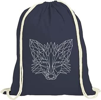 ShirtStreet Fox natur Turnbeutel mit Polygon Fuchs Motiv