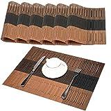 GODTEN Platzsets 6er Set Tischsets Abgrifffeste Hitzebeständig - Rutschfeste Abwaschbar PVC Platzdeckchen Braun - Platz Matten für küche Speisetisch, 30x45cm