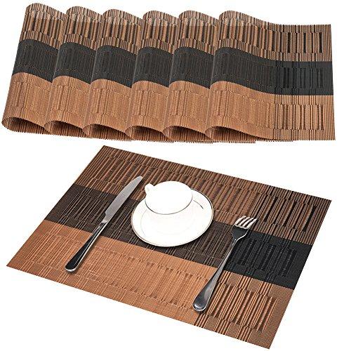 GODTEN Platzsets 6er Set Tischsets Abgrifffeste Hitzebeständig - Rutschfeste Abwaschbar PVC Platzdeckchen Braun - Platz...