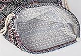 styleBREAKER Turnbeutel Rucksack im Boho Style mit Ethno Rauten Muster, Sportbeutel, Unisex 02012090, Farbe:Schwarz-Grau-Weiß -