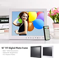 """Epyz HD Ready Digital Photo Frame With Fully Functional Remote (10""""inch, White)"""