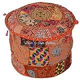 Stylo Culture Coton Patchwork Tabouret Ottoman Brodé Pouf Couverture Orange Floral