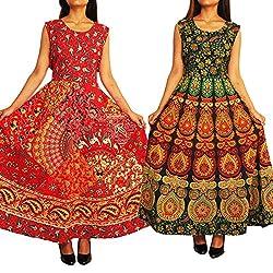 a449a4158aea 48%off Combo of Two Beautiful Designer Cotton Women Sleeveless Printed Dress  Free Size