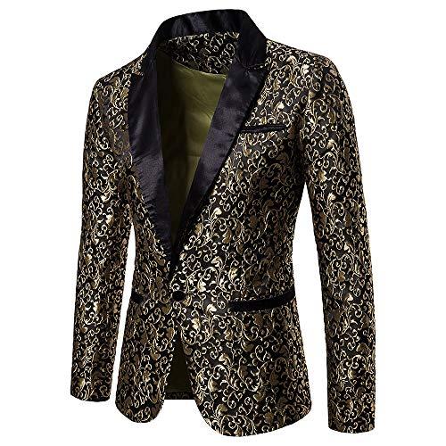 Longra Uomo Giacca Elegante Vestito da Uomo Slim Fit Cappotto Giacca Blazer Paillettes Uomo Giacca Costume Festivo Vestito da Festa Top Outwear Oro