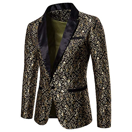 Sannysis Lässiger Blazer Herren Slim Fit Jacquard Anzug Mantel Charm Männer Casual 1 Knopf Suits Sakko Business Hochzeit Mantel Jacke Top