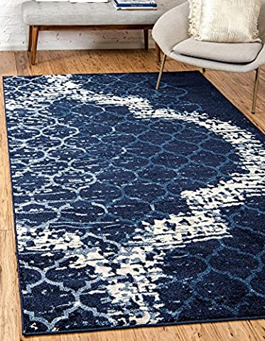 Modern Abstract Geometric 4-Feet by 6-Feet (4' x 6') Trellis Navy Blue Contemporary Area Rug