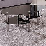 Couchtisch 98x58cm schwarz Sicherheitsglas Beistelltisch Wohnzimmertisch Glas Tisch Sofatisch Glas Loungetisch Ziertisch Chrom Gestell verchromt Modern Schwarzglas