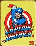 Captain America metal sign (yell bgrd)