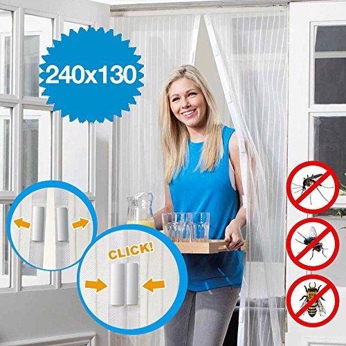 Zero81store tenda zanzariera magnetica bianca 140x240 per porte finestre anti zanzare mosche