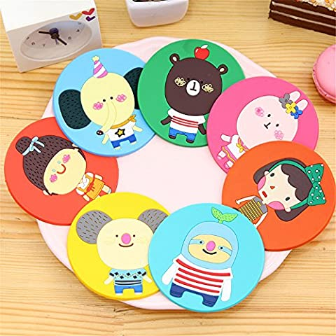 Silicone Novelty Drinks Coaster for Coffee Tea , 7PCs Cute Animal Images Round Table Mats and Coaster Feet Sets Placemat for Furniture