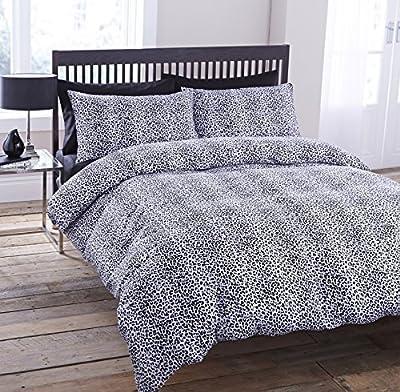 Luxury Animal Leopard Faux Fur Skin Print Black White Duvet Set Quilt Cover Pillowcase Bedding 3 Sizes